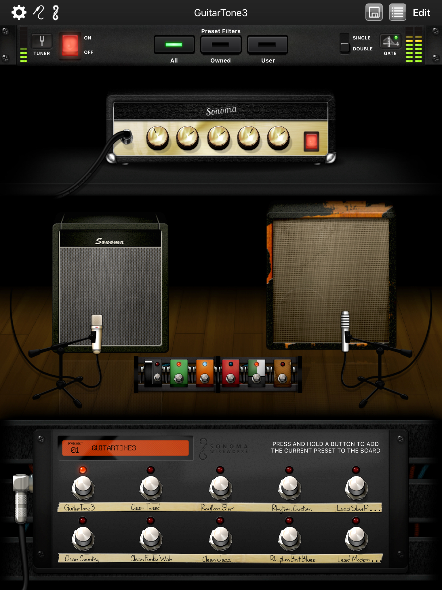 GuitarTone guitar amps and effects iPhone and iPad app for songwriters
