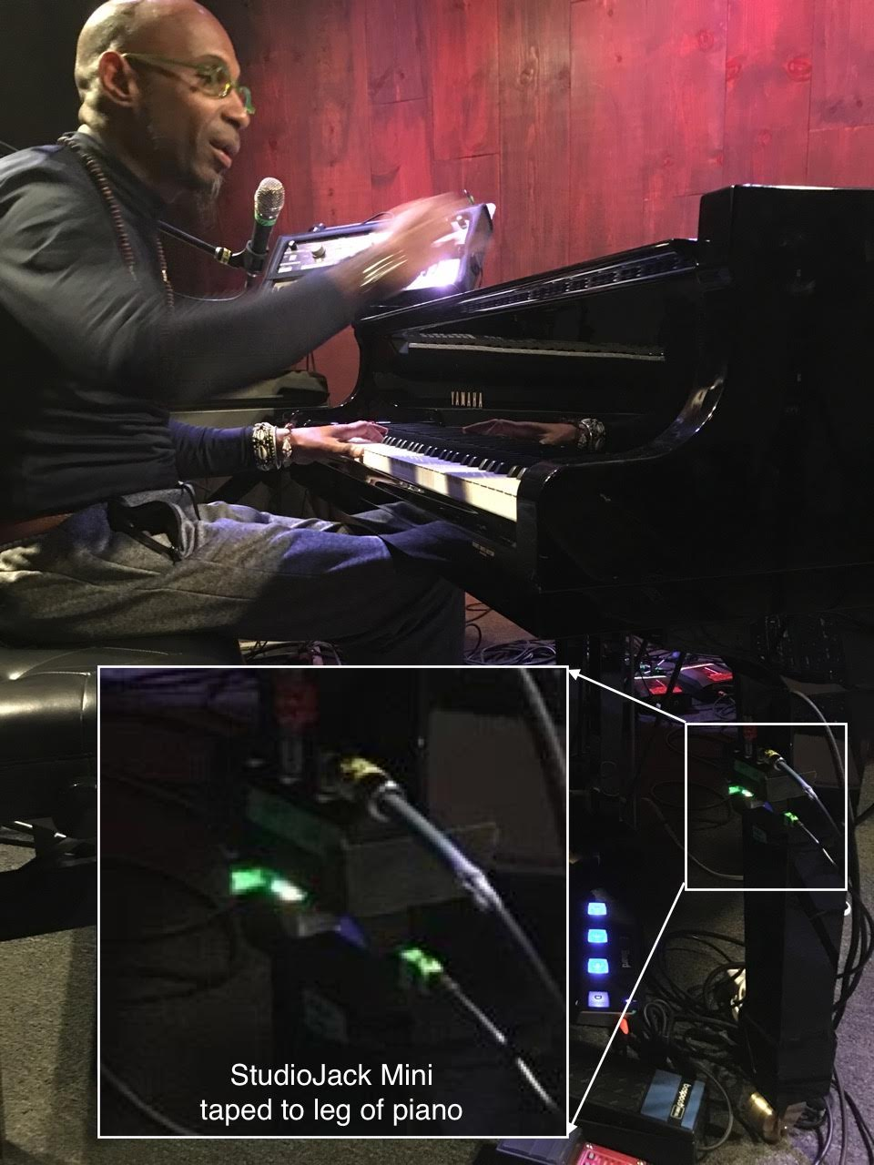 Omar Sosa Piano Setup with StudioJack Mini Audio Interface