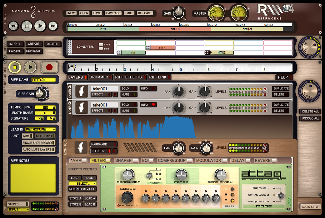 RiffWorks T4 Main Screen