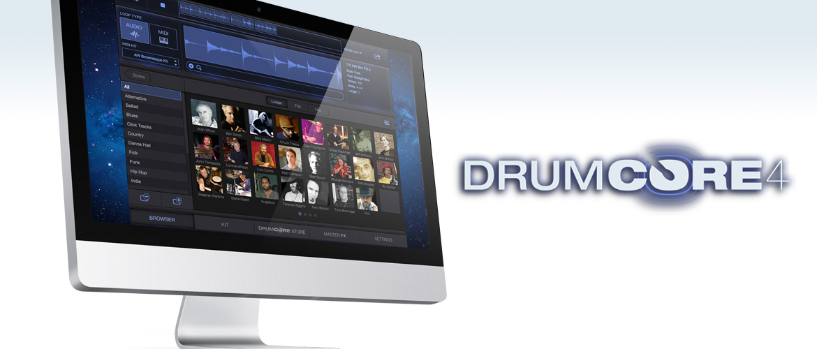 DrumCore 4 drum instrument plug-in (AAX/VST3/AU) with stereo 24 bit AUDIO loops + MIDI recordings of famous drummers in many styles