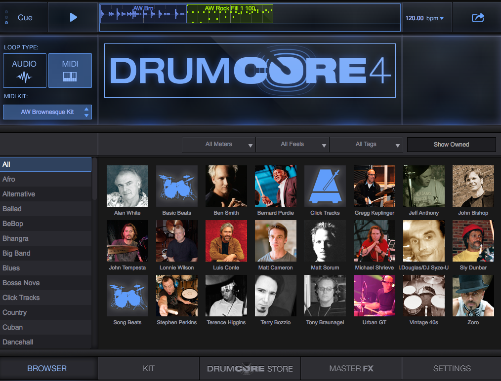 DrumCore 4 Browser Screen