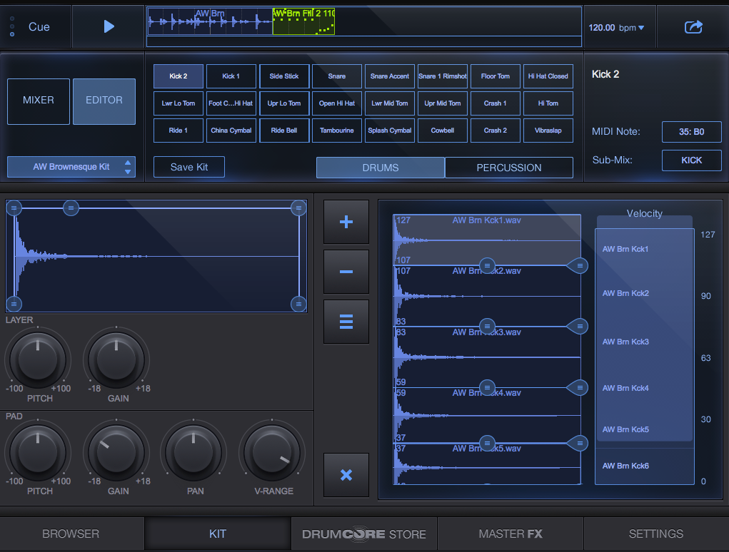 DrumCore 4 Kit Editor Screen