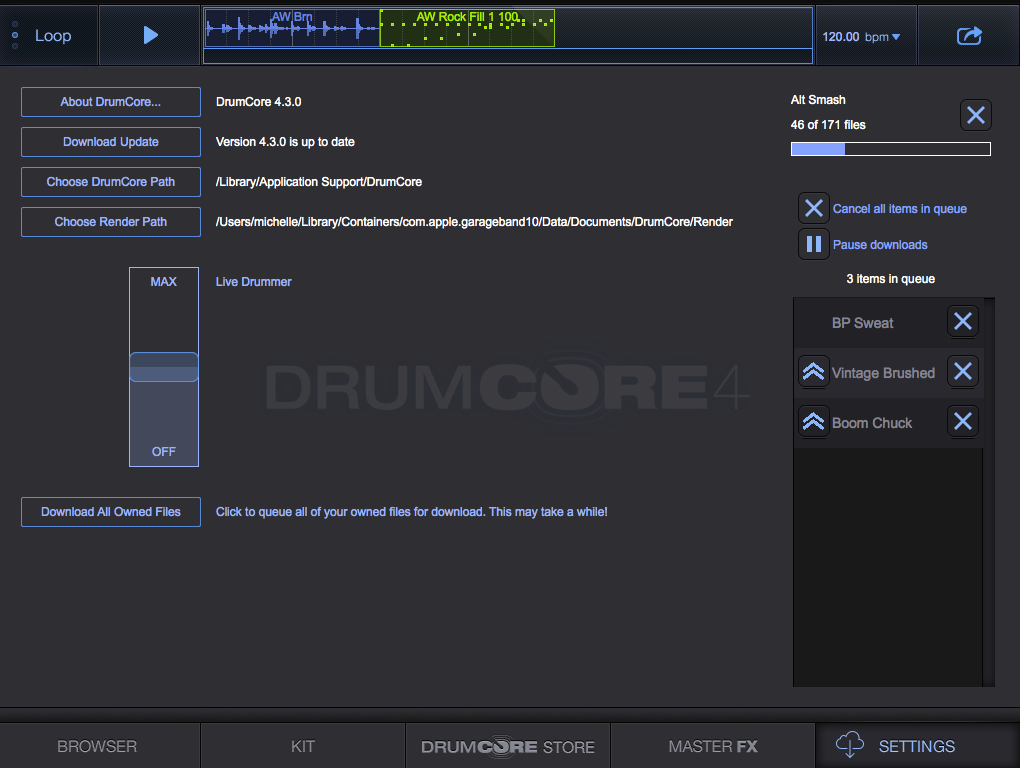 DrumCore 4 Settings Screen